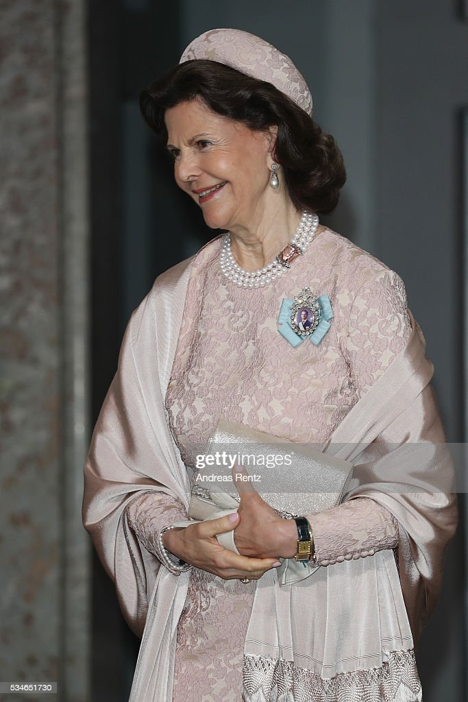 Queen Silvia of Sweden is seen after the christening of Prince Oscar of Sweden at Royal Palace of Stockholm on May 27, 2016 in Stockholm, Sweden.