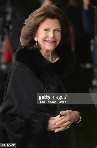 Queen Silvia of Sweden is seen arriving at the Opera House on the occasion of the celebration of King Harald and Queen Sonja of Norway 80th birthdays...