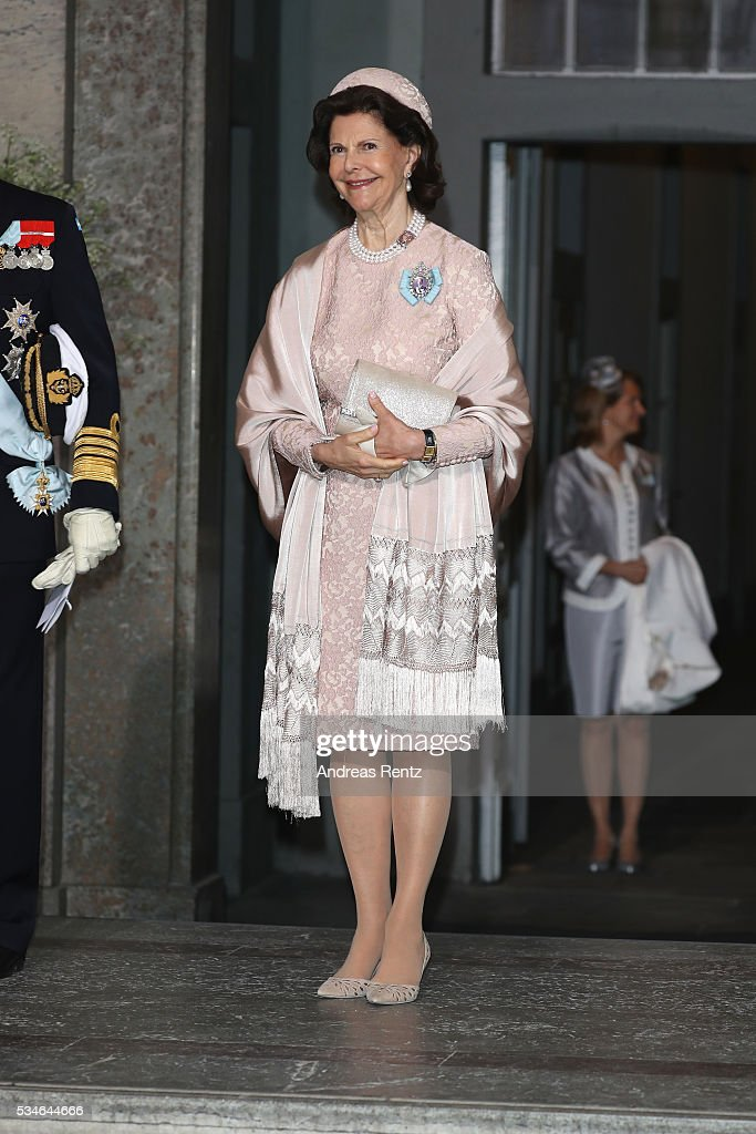 Queen Silvia Of Sweden is seen at Drottningholm Palace for the Christening of Prince Oscar of Sweden on May 27, 2016 in Stockholm, Sweden.
