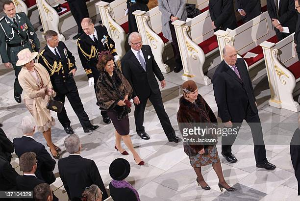 Queen Silvia of Sweden King Carl Gustaf of Sweden Queen Sonja of Norway and King Harald V of Norway attend a service to celebrate Queen Margrethe II...