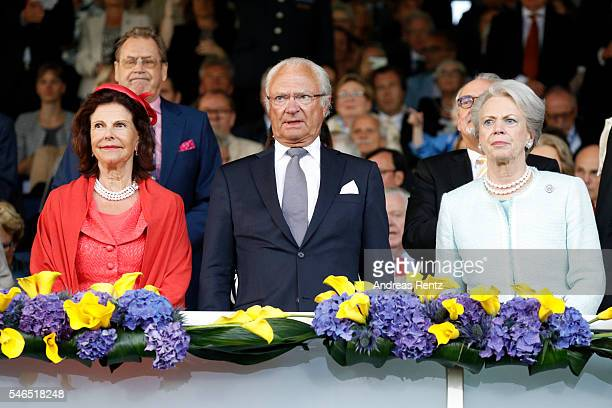Queen Silvia of Sweden King Carl XVI Gustaf of Sweden and Princess Benedikte of Denmark watch the opening ceremony of the CHIO 2016 on July 12 2016...