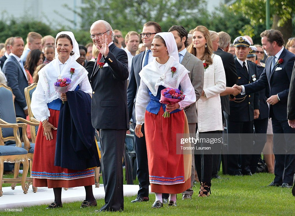 Queen Silvia of Sweden, King Carl XVI Gustaf of Sweden, Prince Daniel, Duke of Vastergotland and Crown Princess Victoria of Sweden attend Victoria Day celebrations at Solliden Castle on July 14, 2013 in Borgholm, Sweden.