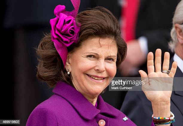 Queen Silvia of Sweden leaves the Town Hall after lunch during festivities for the 75th birthday of Queen Margrethe II Of Denmark on April 16 2015 in...