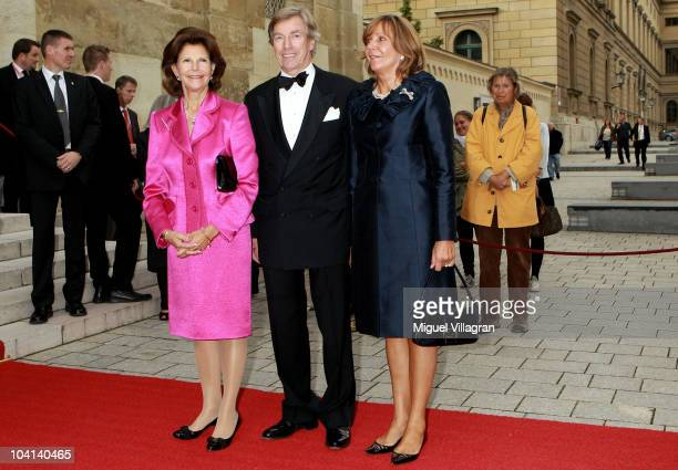 Queen Silvia of Sweden Leopold Prinz von Bayern and Ursula Prinzessin von Bayern arrive outside the Allerheiligen Hofkirche church prior to the Prix...