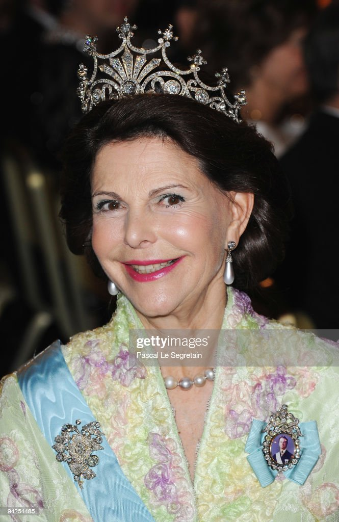 Queen Silvia of Sweden poses during the Nobel Foundation Prize Banquet 2009 at the Town Hall on December 10, 2009 in Stockholm, Sweden.