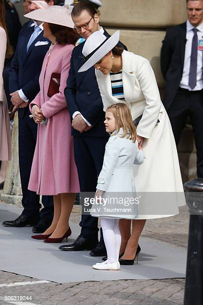 Queen Silvia of Sweden Prince Daniel of Sweden Crown Princess Victoria of Sweden and Princess Estelle of Sweden are seen at the celebrations of the...