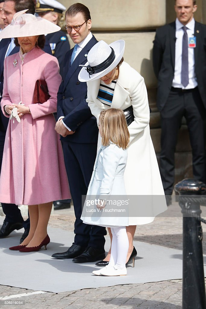 Queen Silvia of Sweden, Prince Daniel of Sweden, Crown Princess Victoria of Sweden and Princess Estelle of Sweden are seen at the celebrations of the Swedish Armed Forces for the 70th birthday of King Carl Gustaf of Sweden on April 30, 2016 in Stockholm, Sweden.
