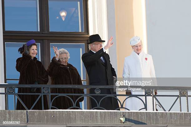 Queen Silvia of Sweden Princess Astrid Of Norway King Carl XVI Gustaf of Sweden and Queen Margrethe II of Denmark attend the 25th anniversary of King...