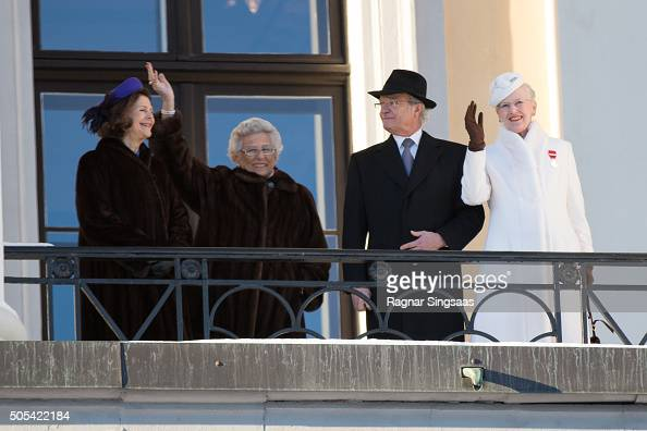 Queen Silvia of Sweden Princess Astrid Of Norway King Carl XVI Gustaf of Sweden and Queen Margrethe II of Denmark wave to the crowd outside the Royal...