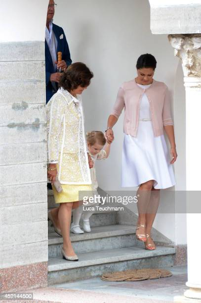 Queen Silvia of Sweden Princess Estelle of Sweden and Crown Princess Victoria of Sweden attend the Victoria Day celebrations on the Crown Princess's...