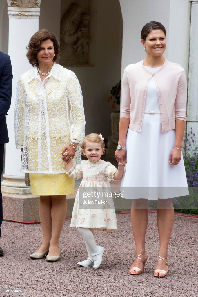 Queen Silvia of Sweden, Princess Estelle of Sweden and Crown Princess Victoria of Sweden attend the 37th Birthday celebrations of Crown Princess Victoria of Sweden,at Solliden, Borgholm on July 14, 2014 in Oland, Sweden.