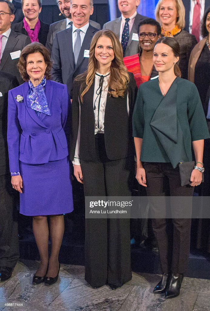 Queen Silvia of Sweden Princess Madeleine of Sweden and Princess Sofia of Sweden attend the Global Child Forum at the Hall of State in the Royal...