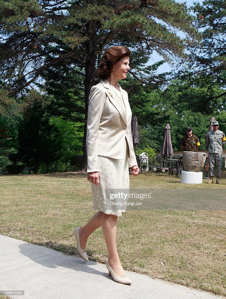 Queen Silvia of Sweden visits at Swedish Camp of the Neutral Nations Supervisory Camp (NNSC) at the border village of panmunjom between South and North Korea in the demilitarized zone (DMZ) on June 1, 2012, South Korea. The Swedish royals are on the four-day tour to South Korea.