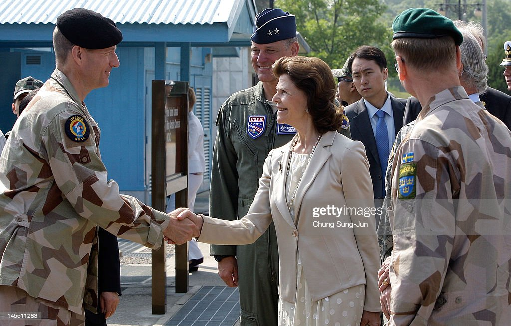 Queen Silvia of Sweden visits at the border village of panmunjom between South and North Korea in the demilitarized zone (DMZ) on June 1, 2012, South Korea. The Swedish royals are on the four-day tour to South Korea.