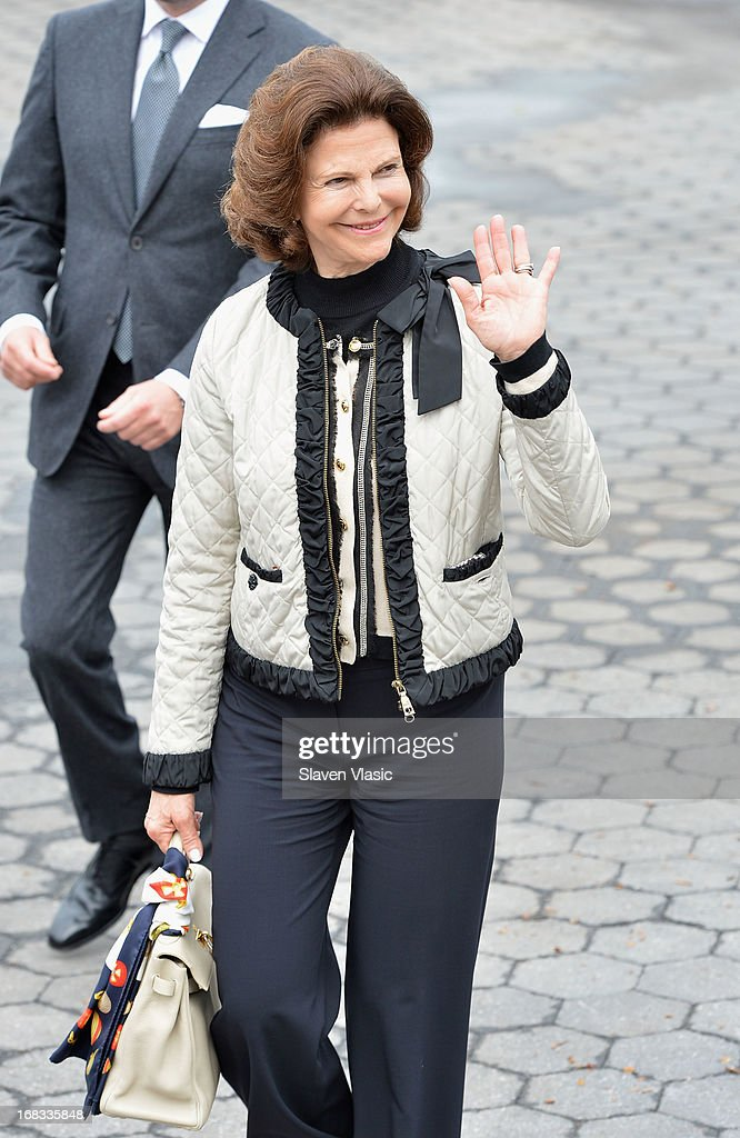 Queen Silvia of Sweden visits The Castle Clinton National Monument at Battery Park on May 8, 2013 in New York City.