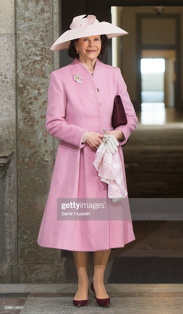 Queen Silvia of Swedens arrive at the Royal Palace to attend Te Deum Thanksgiving Service to celebrate the 70th birthday of King Carl Gustaf of Sweden on April 30, 2016 in Stockholm, Sweden.