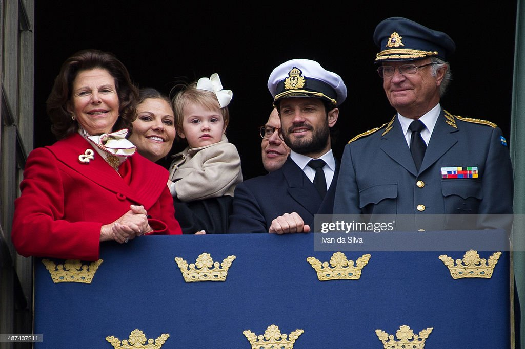 Queen Silvia, Princess Victoria, Princess Estelle, Prince Daniel, Prince Carl Philip and King <a gi-track='captionPersonalityLinkClicked' href=/galleries/search?phrase=Carl+XVI+Gustaf&family=editorial&specificpeople=159449 ng-click='$event.stopPropagation()'>Carl XVI Gustaf</a> of Sweden attend the the birthday cermony of King <a gi-track='captionPersonalityLinkClicked' href=/galleries/search?phrase=Carl+XVI+Gustaf&family=editorial&specificpeople=159449 ng-click='$event.stopPropagation()'>Carl XVI Gustaf</a> of Sweden at the Royal Palace on April 30, 2014 in Stockholm, Sweden.