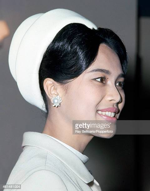 Queen Sirikit of Thailand arrives at London Airport circa 1966