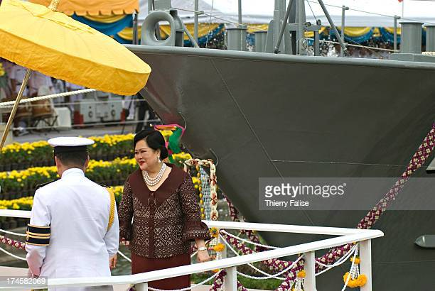 Queen Sirikit of Thailand presides over the launching ceremony of Tor 991 a coastal patrol boat at the Royal Naval Dockyard The vessel designed and...