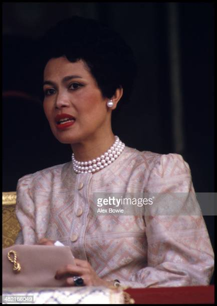 Queen Sirikit seen during the visit to Thailand of Malcolm Forbes at the launch of a 90foottall elephantshaped balloon in the showgrounds beside the...