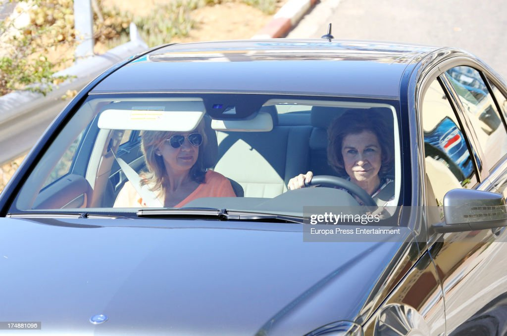 Queen Sofía of Spain (R) and her daughter <a gi-track='captionPersonalityLinkClicked' href=/galleries/search?phrase=Princess+Cristina+of+Spain&family=editorial&specificpeople=160232 ng-click='$event.stopPropagation()'>Princess Cristina of Spain</a> are seen in Mallorca on July 29, 2013 in Mallorca, Spain. <a gi-track='captionPersonalityLinkClicked' href=/galleries/search?phrase=Princess+Cristina+of+Spain&family=editorial&specificpeople=160232 ng-click='$event.stopPropagation()'>Princess Cristina of Spain</a> comes back to Mallorca after two years.