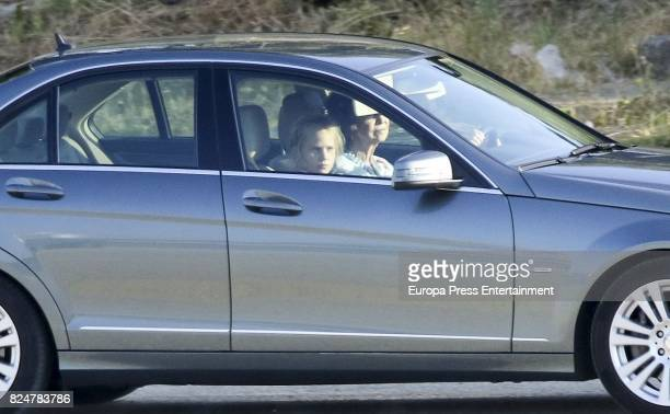 Queen Sofia and her granddaughter Irene Urdangarin are seen on July 29 2017 in Palma de Mallorca Spain