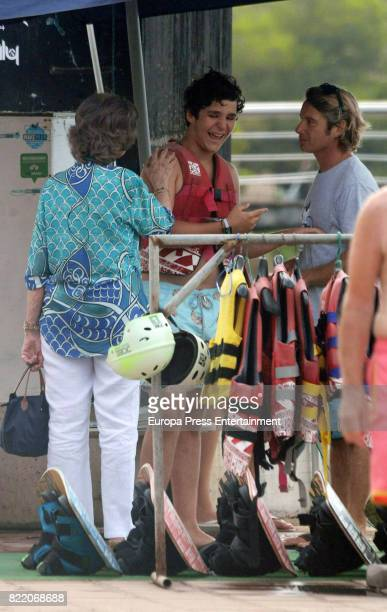 Queen Sofia and her grandson Felipe Juan Froilan are seen on July 24 2017 in Palma de Mallorca Spain