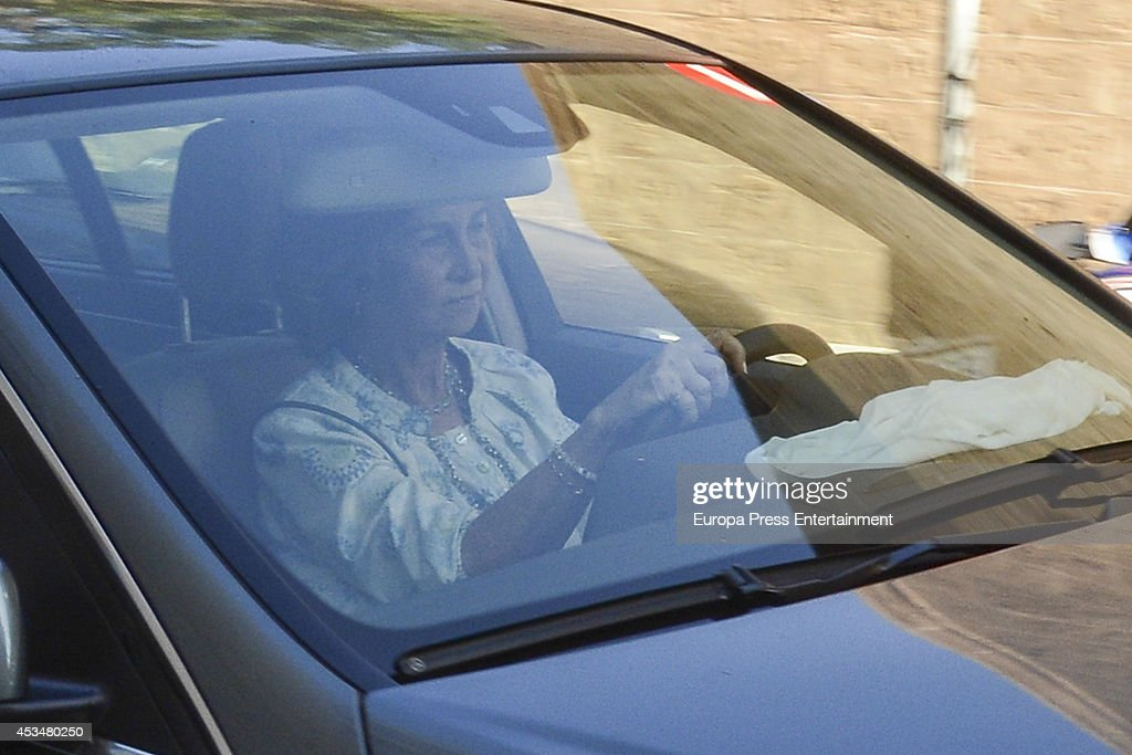 Queen Sofia and her sister Princess Irene of Greece drive Queen Sofia's grandaughter Irene Urdangarin to Palma de Mallorca hospital after she...