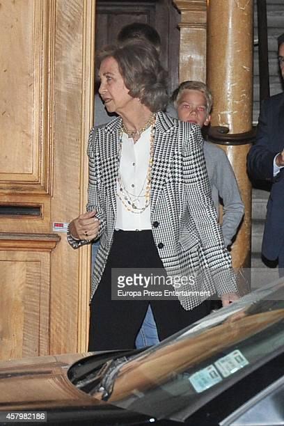 Queen Sofia and Irene Urdangarin attend her grandson Juan Valentin Urdangarin's birthday on September 27 2014 in Geneva Switzerland