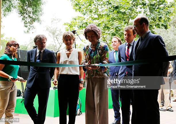 Queen Sofia and Isabel Garcia Tejerina attend the opening of the new facilities for iberian lynx at Zoo Aquarium on July 20 2016 in Madrid Spain