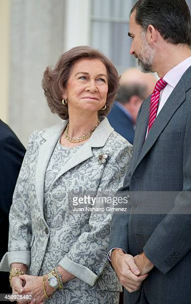 Queen Sofia and King Felipe VI of Spain attend National Sport Awards 2013 at Royal Palace of El Pardo on December 4 2014 in Madrid Spain