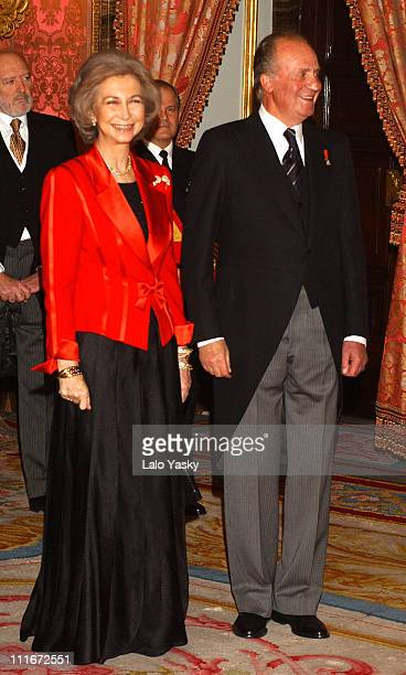 Queen Sofia and King Juan Carlos during Spanish Royal Family Greet Foreign Ambassadors during a Reception at the Palace at Spanish Royal Receive...