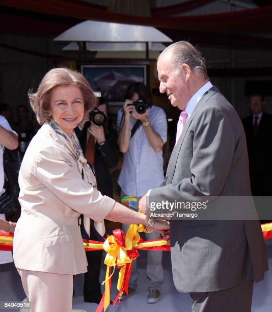 Queen Sofia and King Juan Carlos of Spain attend the ribbon cutting ceremony at the Wines of Spain pavilion at Whole Foods Grand Tasting Village at...