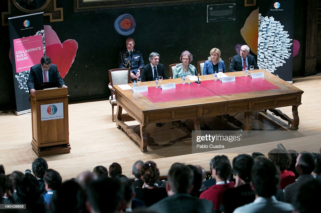Queen Sofia (3rdR) attends the '2015 Human Brain Project (HBP) Annual Summit' on September 28, 2015 in Madrid, Spain.