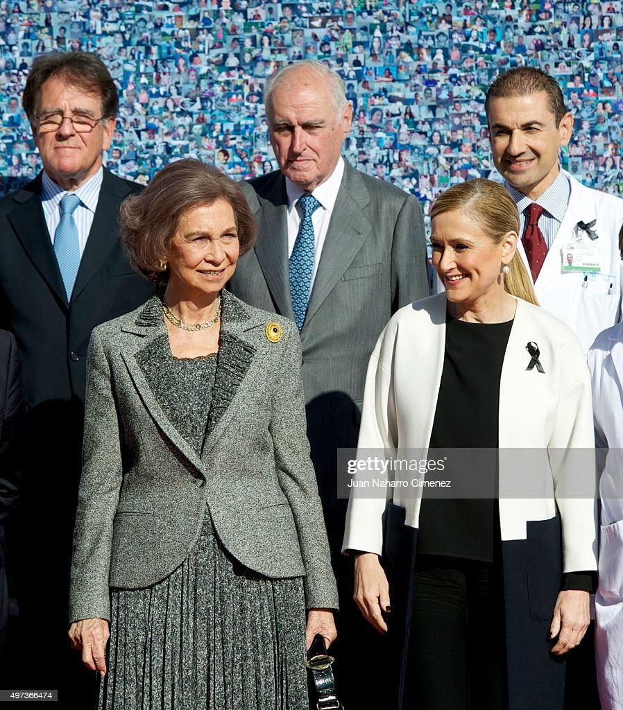 Queen Sofia and President of Madrid Community Cristina Cifuentes attend 'La Paz Hospital 50th Anniversary' at La Paz Hospital on November 16, 2015 in Madrid, Spain.