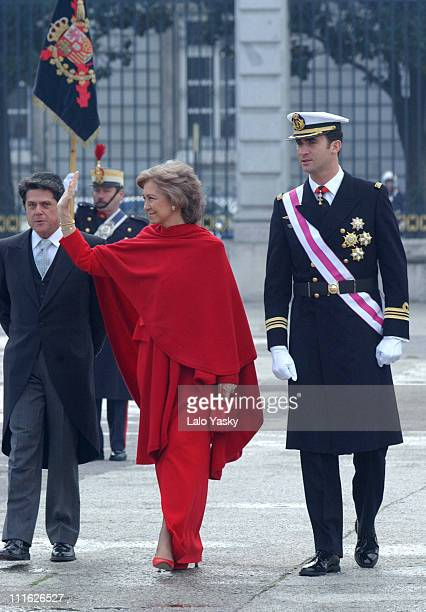Queen Sofia and Prince Felipe of Spain attend the first official event of 2003 during the traditional 'Pascua Militar' at the Royal Palace in Madrid