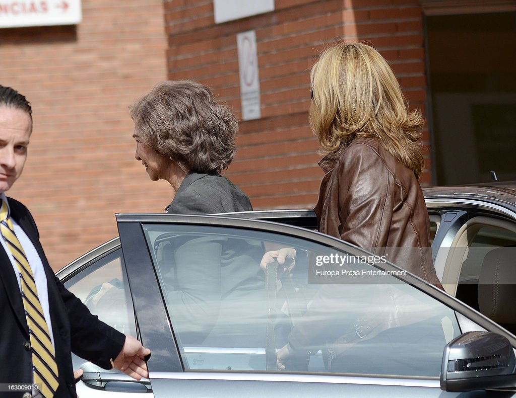 Queen Sofia and Princess Cristina visit king juan carlos at La Milagrosa Hospital on March 3, 2013 in Madrid, Spain. He had hip surgery last November. The king has had several other health issues in the past two years, including knee surgery and the removal of a benign lung tumor.