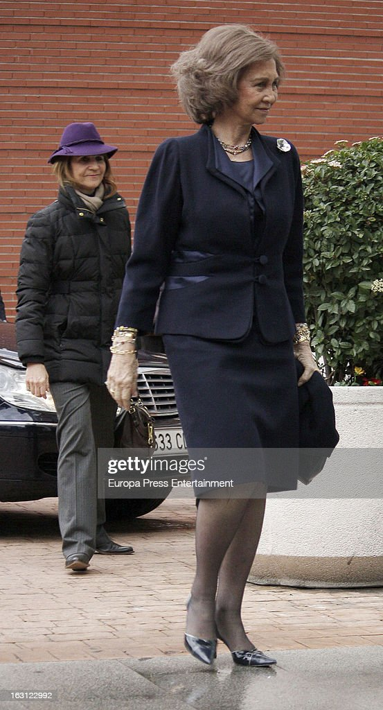Queen Sofia and <a gi-track='captionPersonalityLinkClicked' href=/galleries/search?phrase=Princess+Elena+of+Spain&family=editorial&specificpeople=160235 ng-click='$event.stopPropagation()'>Princess Elena of Spain</a> visit King Juan Carlos of Spain at La Milagrosa Hospital on March 4, 2013 in Madrid, Spain. King Juan Carlos of Spain went under surgery for a lower back disc hernia yesterday. He also had hip surgery last November. The King has had several other health issues in the past two years, including knee surgery and the removal of a benign lung tumor.