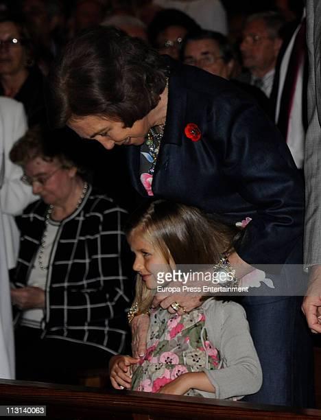 Queen Sofia and Princess Leonor attend Easter Mass in Mallorca on April 24 2011 in Palma de Mallorca Spain