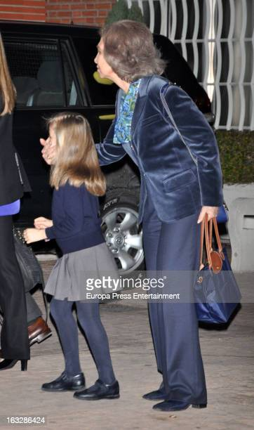 Queen Sofia and Princess Leonor visit King Juan Carlos of Spain at La Milagrosa Hospital on March 6 2013 in Madrid Spain King Juan Carlos of Spain...