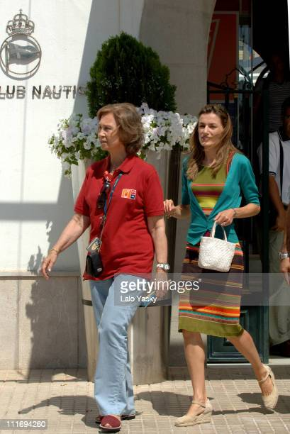 Queen Sofia and Princess Letizia during Princess Letizia Sighting at the Real Club Nautico During Summer Holidays in Mallorca at Real Club Nautico in...