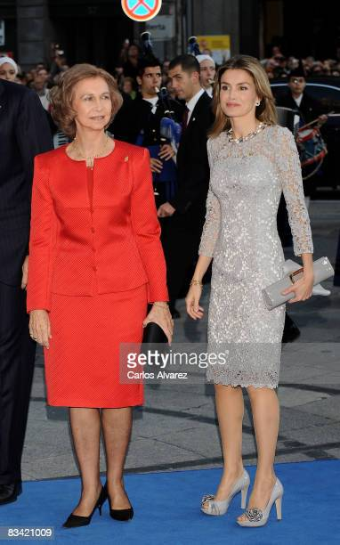 Queen Sofia and Princess Letizia of Spain arrive at the Prince of Asturias Award Ceremony on October 24 2008 at the 'Campoamor' Theatre in Oviedo...