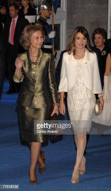 Queen Sofia and Princess Letizia of Spain attend Prince of Asturias Award Ceremony on October 26 2007 at the 'Campoamor' Theatre in Oviedo Spain