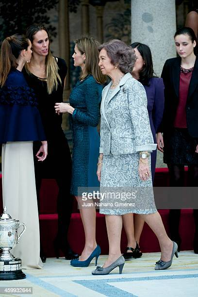 Queen Sofia and Queen Letizia of Spain attend National Sport Awards 2013 at Royal Palace of El Pardo on December 4 2014 in Madrid Spain