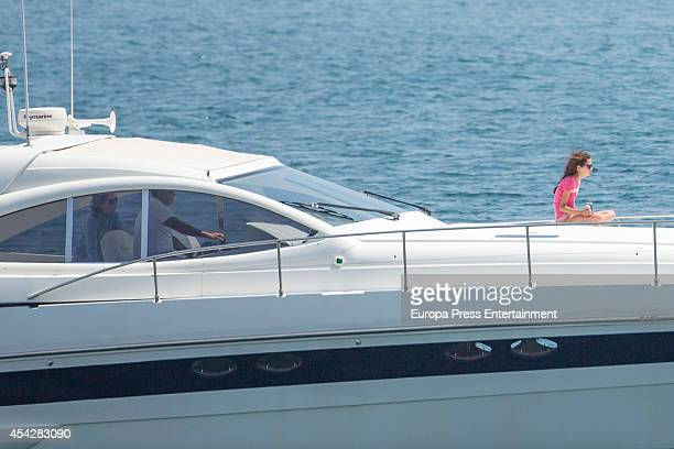 Queen Sofia and their grandsons Victoria Federica are seen on August 6 2014 in Palma de Mallorca Spain