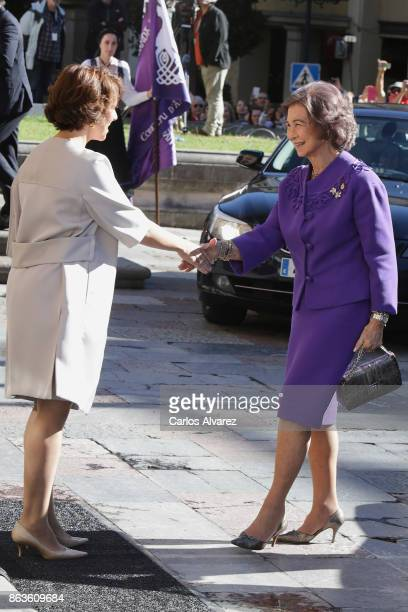 Queen Sofia arrives at the Reconquista Hotel during the 'Princesa De Asturias' Awards 2017 on October 20 2017 in Oviedo Spain