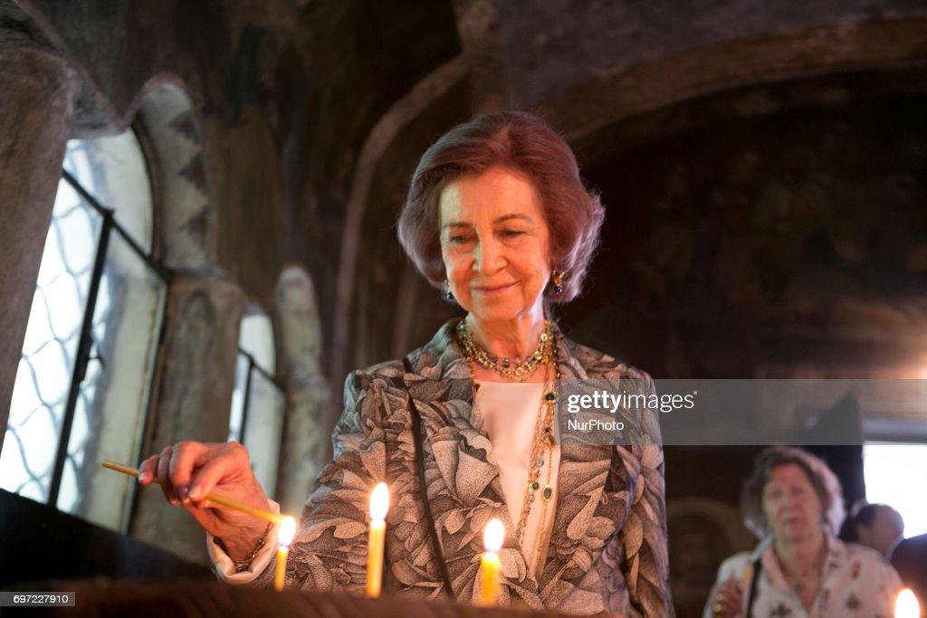 Queen Sofia at the Cherepish Monastery in Vratsa region, Bulgaria for the Birthday of King Simeon II of Bulgaria on June 17th, 2017.