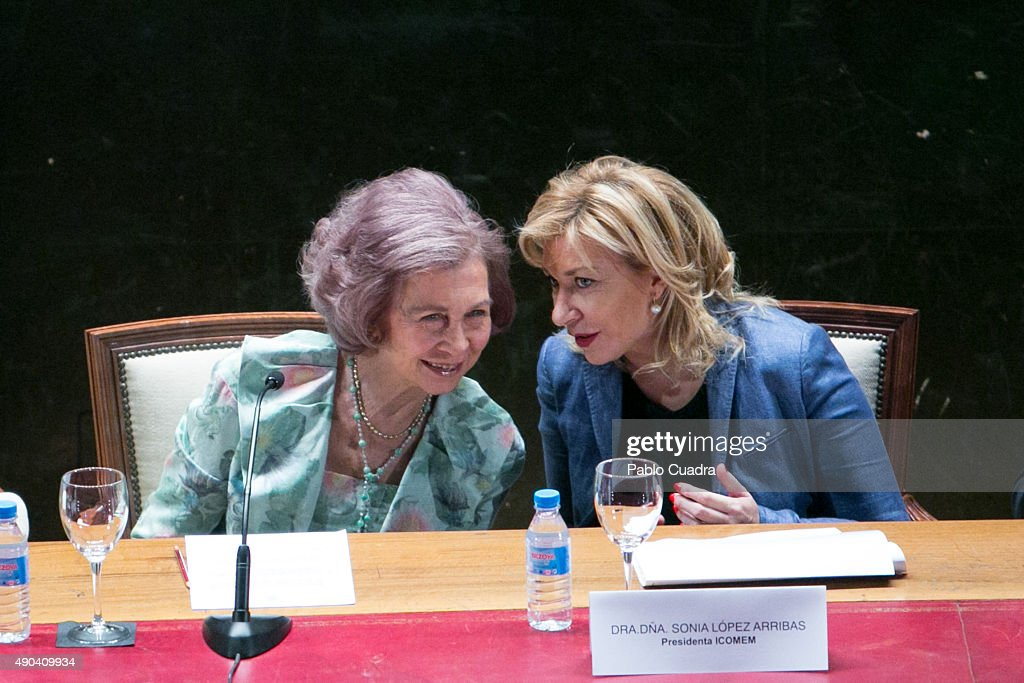 Queen Sofia (L) attends the '2015 Human Brain Project (HBP) Annual Summit' on September 28, 2015 in Madrid, Spain.