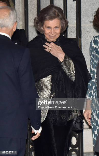 Queen Sofia attends the 32nd edition of BMW Painting Award at the Royal Theatre on November 16 2017 in Madrid Spain