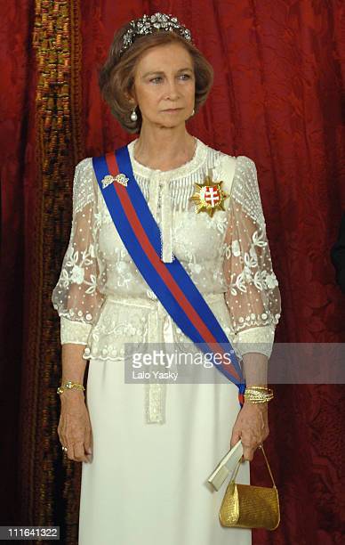 HM Queen Sofia attends the Royal Gala Dinner in honour of Slovakian President Ivan Gasparovic and his wife Silvia at the Royal Palace on October 22...